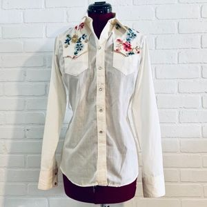 Vintage Embroidered Top Western Shirt S Rockmount